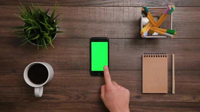 Click The Smartphone Green Screen: Stock Video