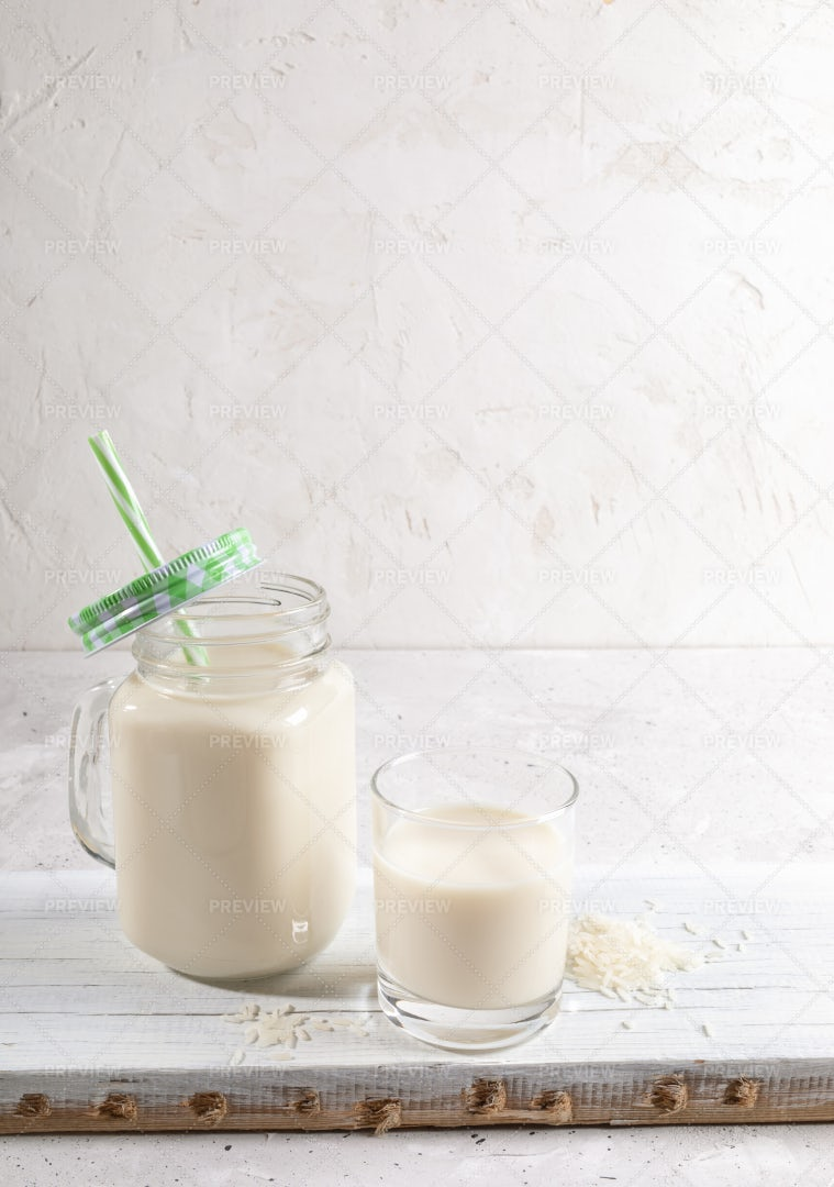 Rice Milk In Containers: Stock Photos