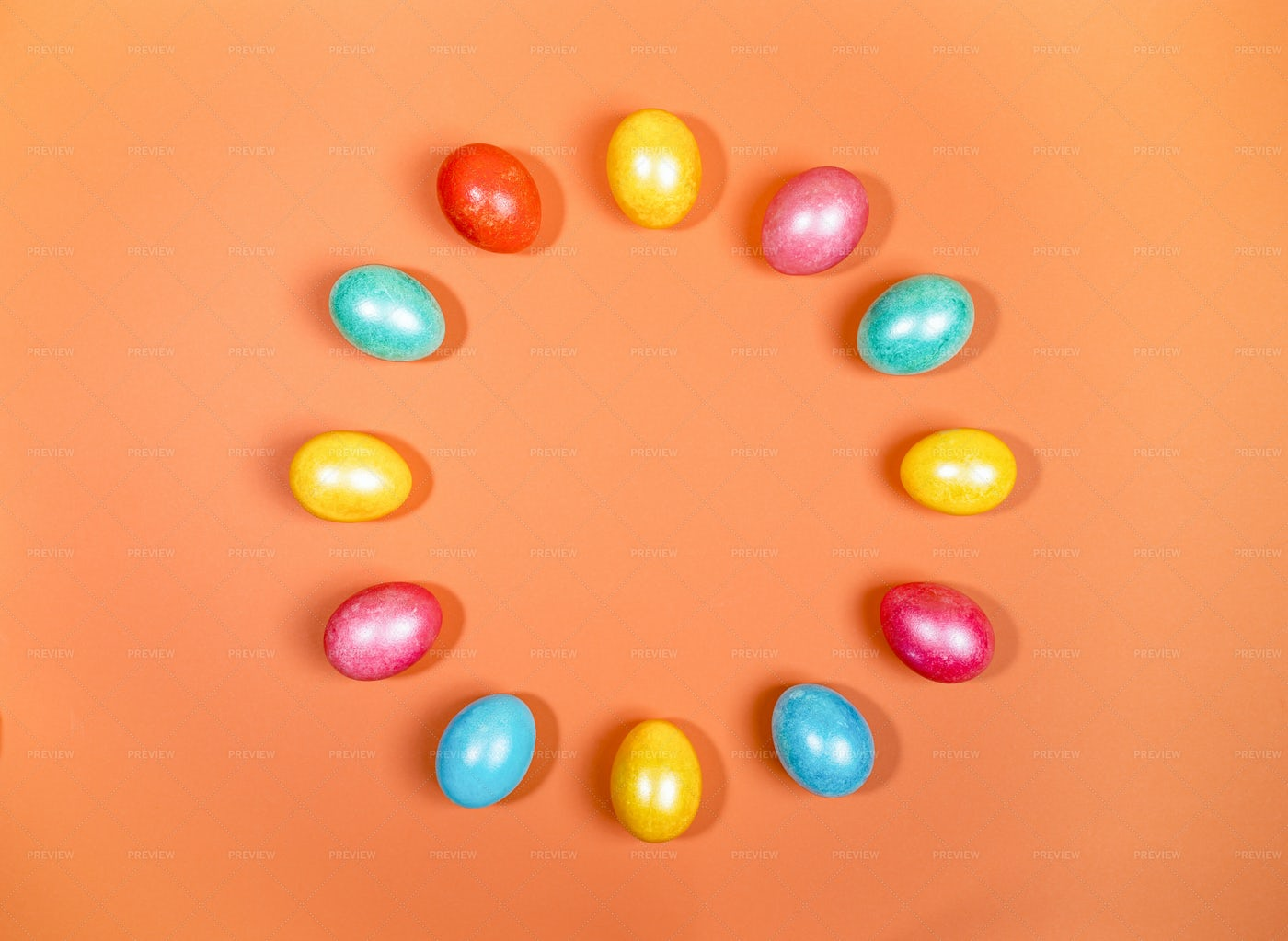 Colored Easter Eggs Circle: Stock Photos