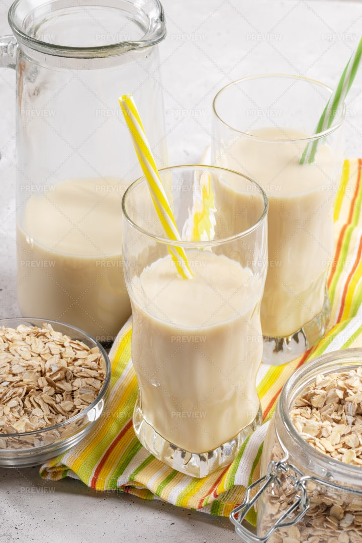 Oat Milk In Containers: Stock Photos