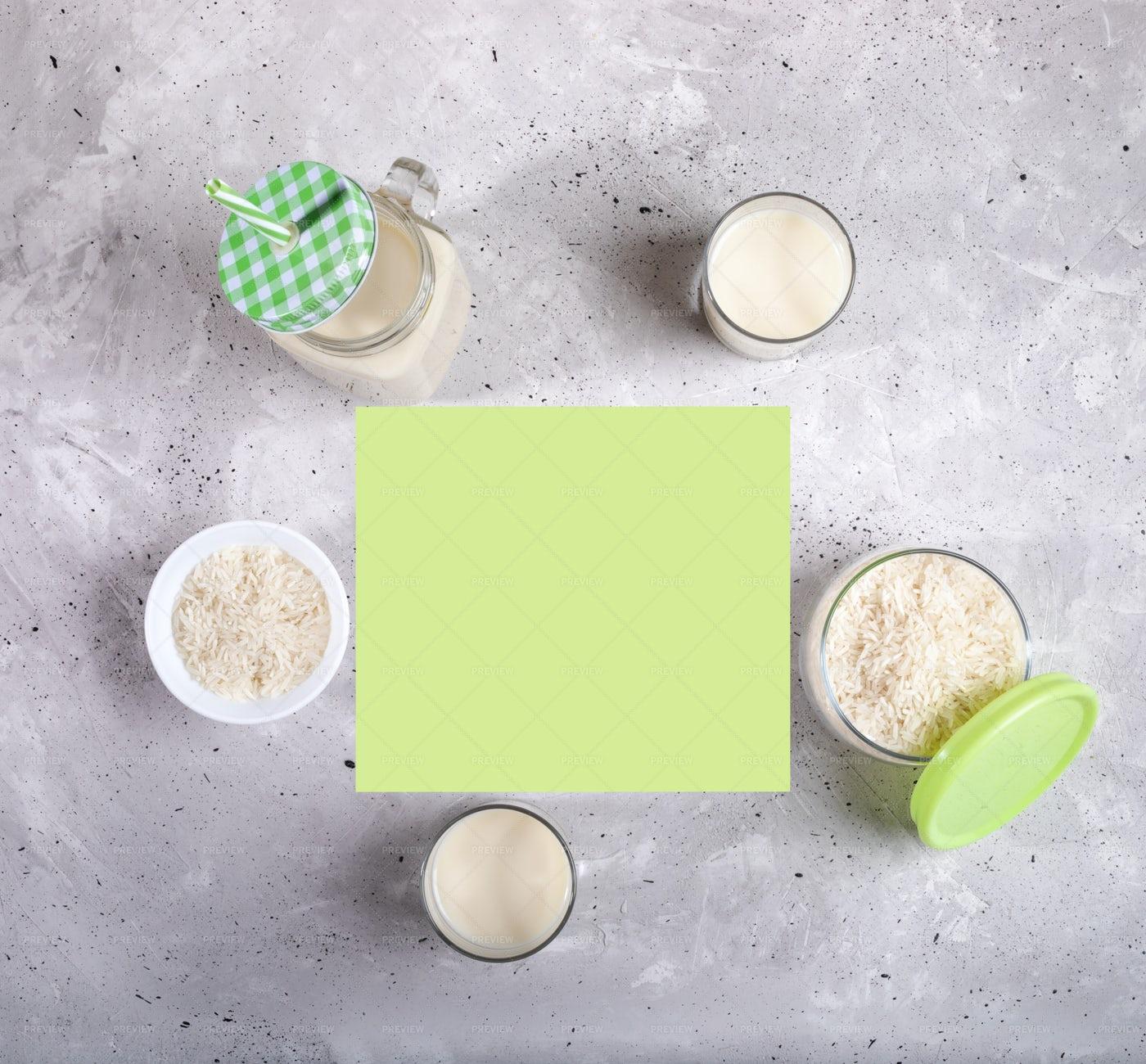 Rice Milk And Seeds: Stock Photos