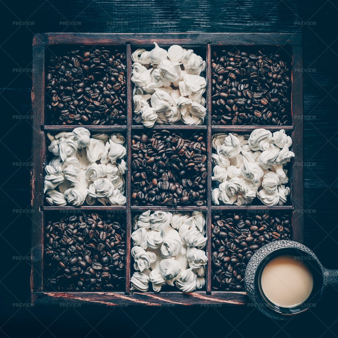 Coffee Beans And Meringues: Stock Photos