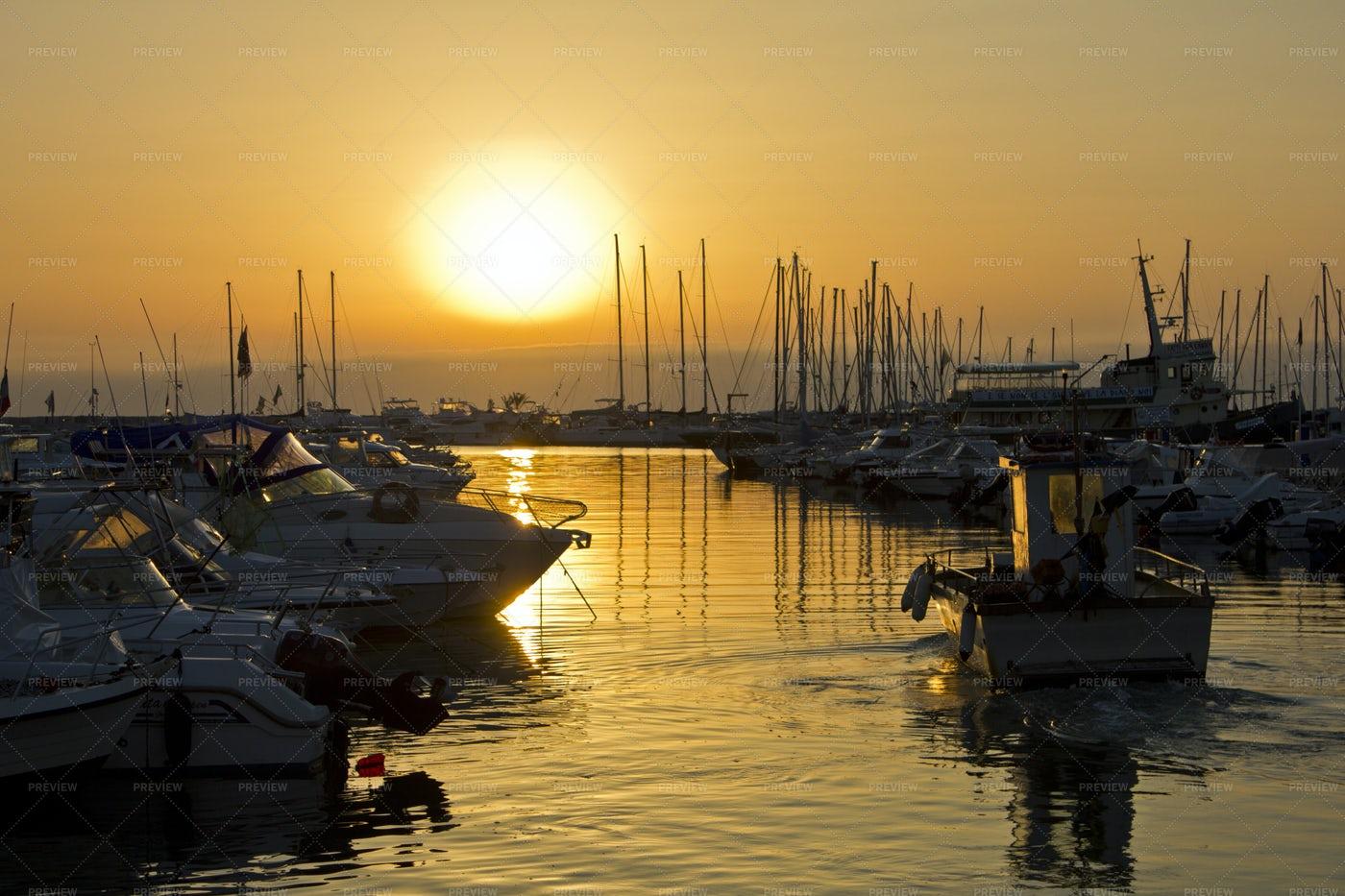 Boat Harbor At Sunrise: Stock Photos