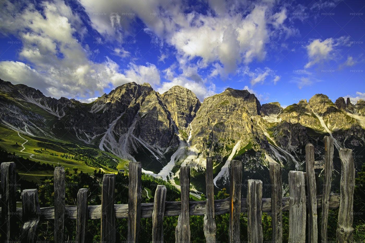 View From The Mountain Saddle Kreuzjoch: Stock Photos
