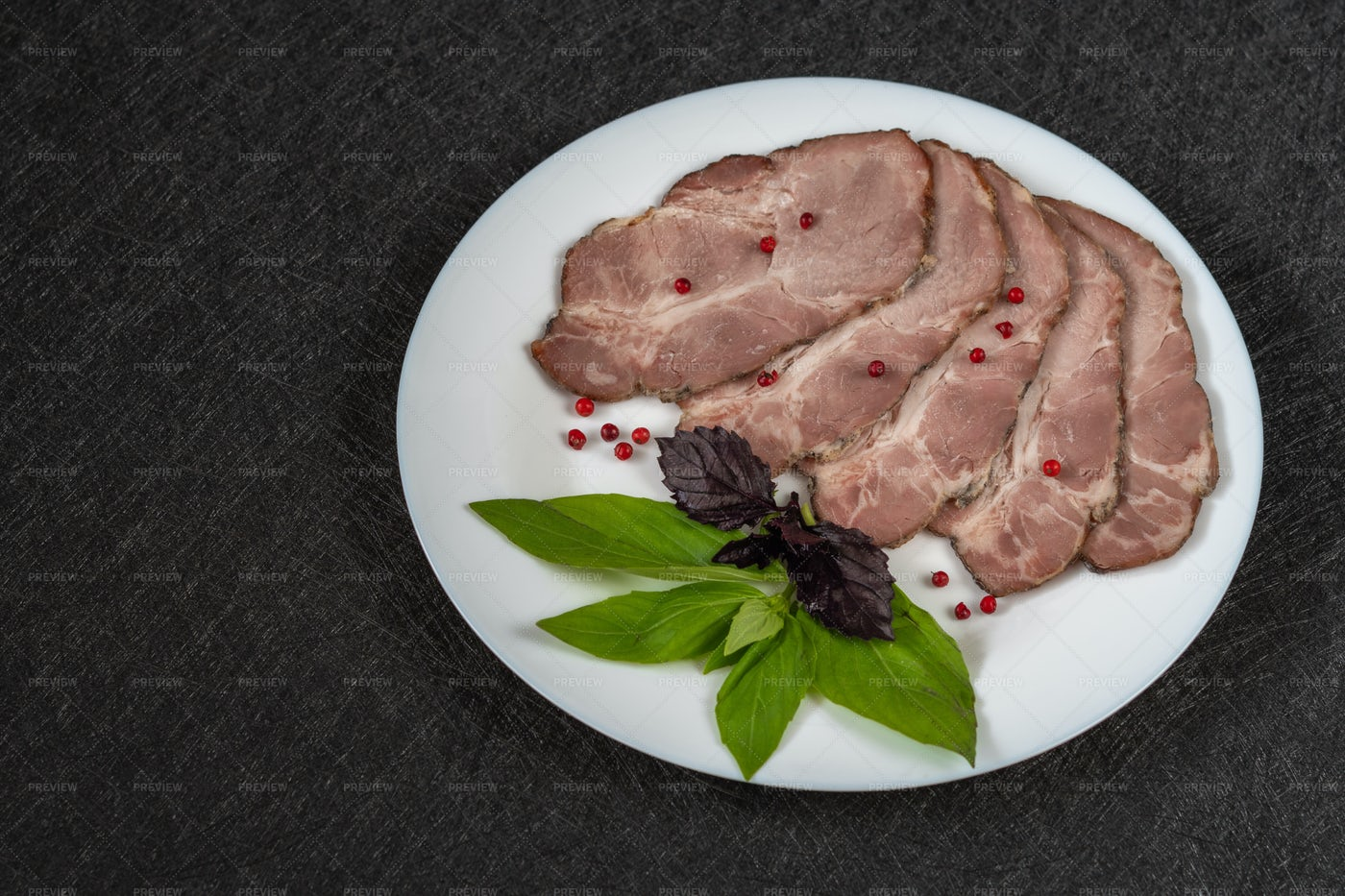 Baked Meat Cut Into Pieces: Stock Photos