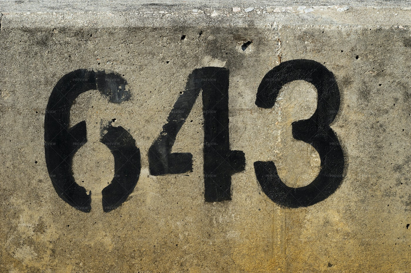 Numbers On Old Concrete: Stock Photos