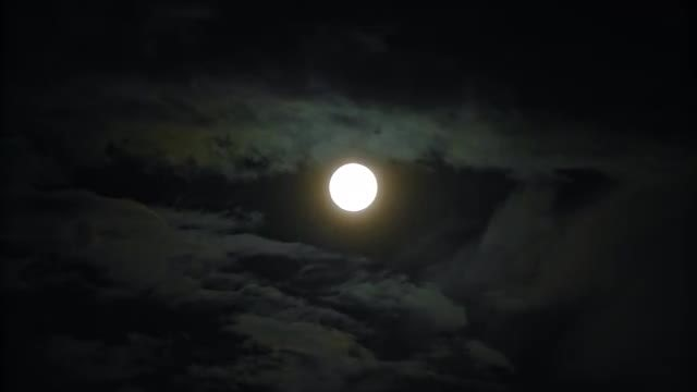Full Moon in Black Sky: Stock Video
