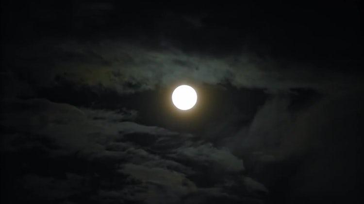 Full Moon in Black Sky: Stock Video