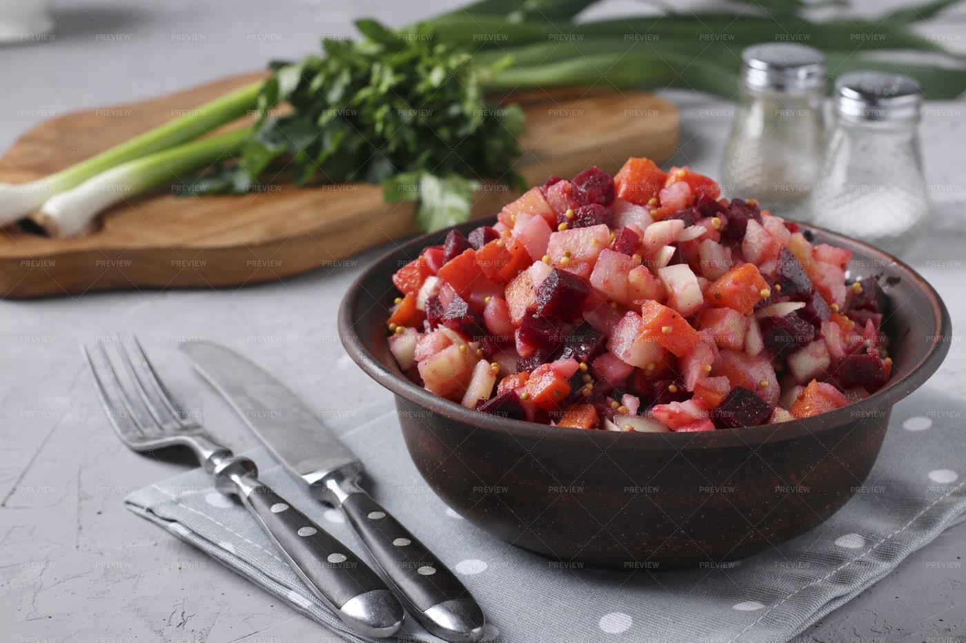 Traditional Russian Salad: Stock Photos