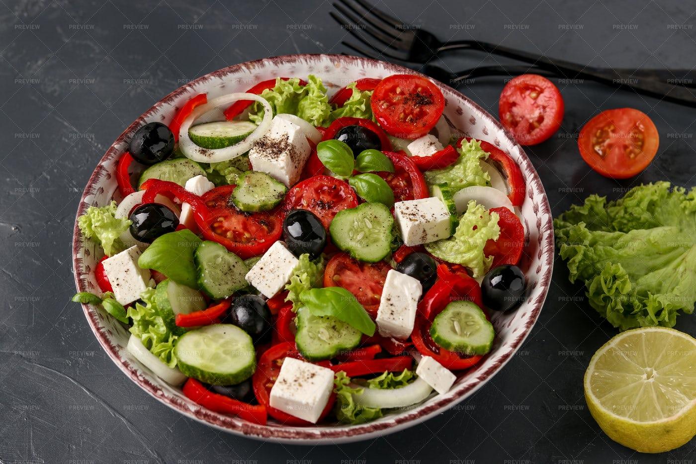 Healthy Greek Salad: Stock Photos