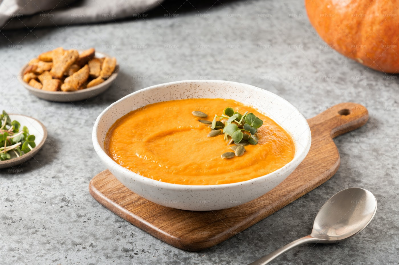 Prepared Pumpkin Soup: Stock Photos