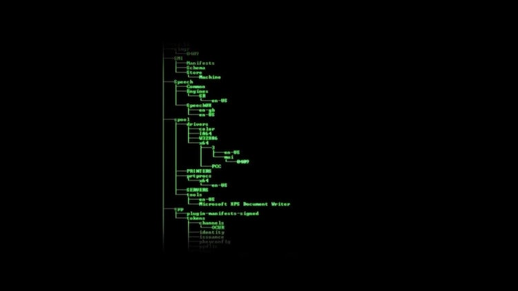 Directory Listing Computer Interface: Motion Graphics
