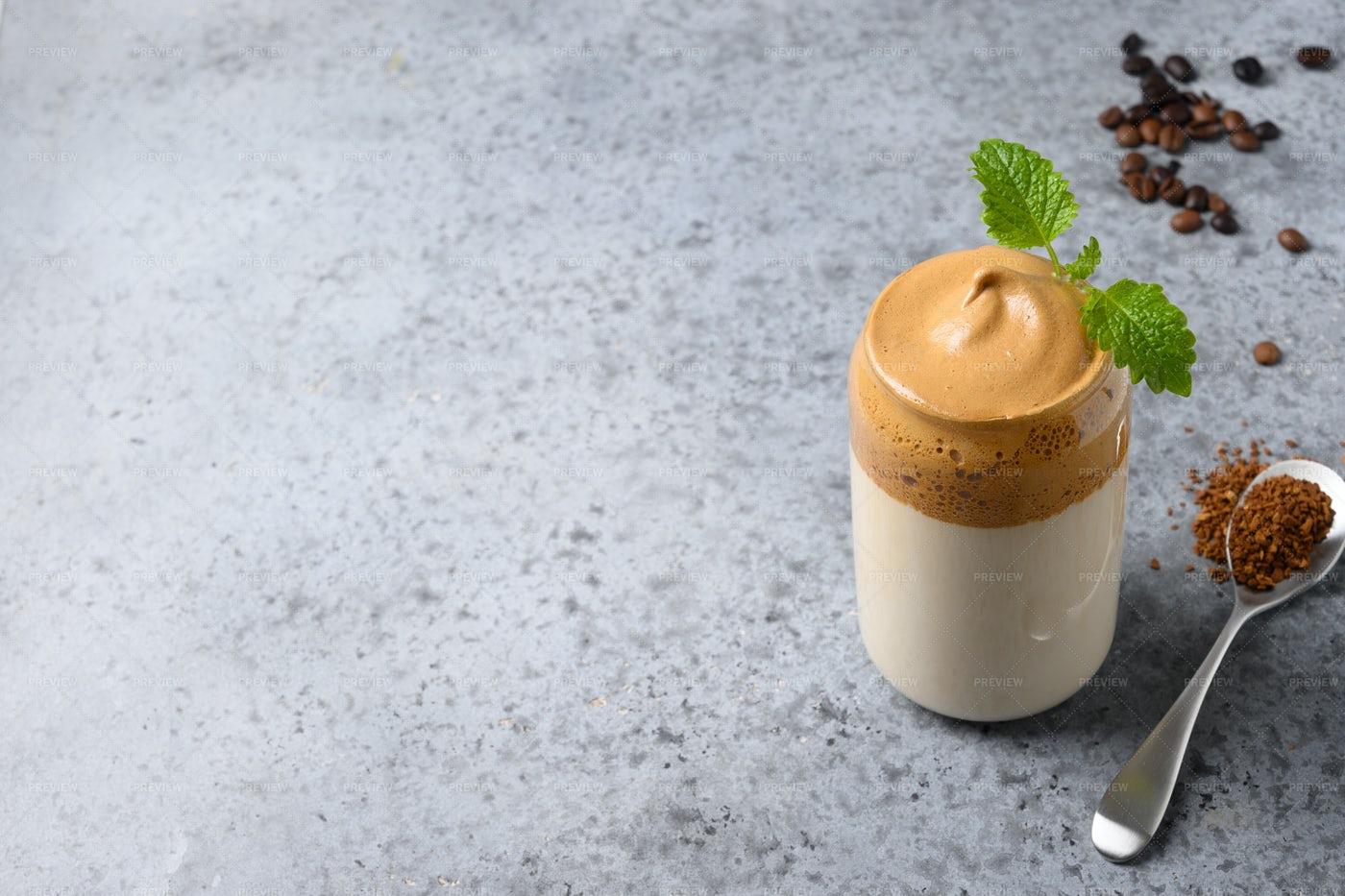 Frothy Dalgona Coffee: Stock Photos