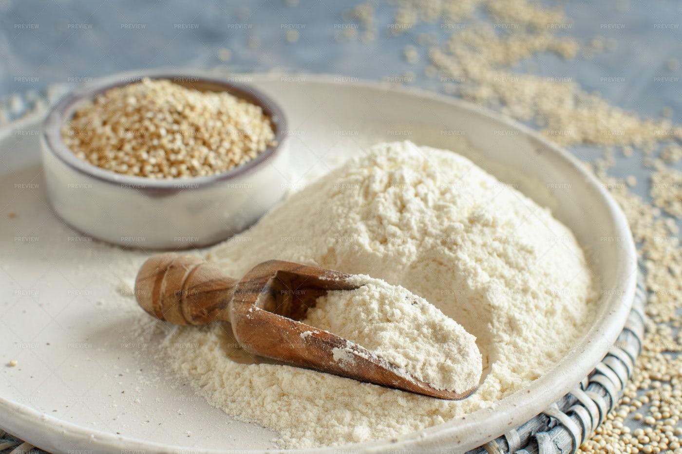 Quinoa Flour And Seeds: Stock Photos