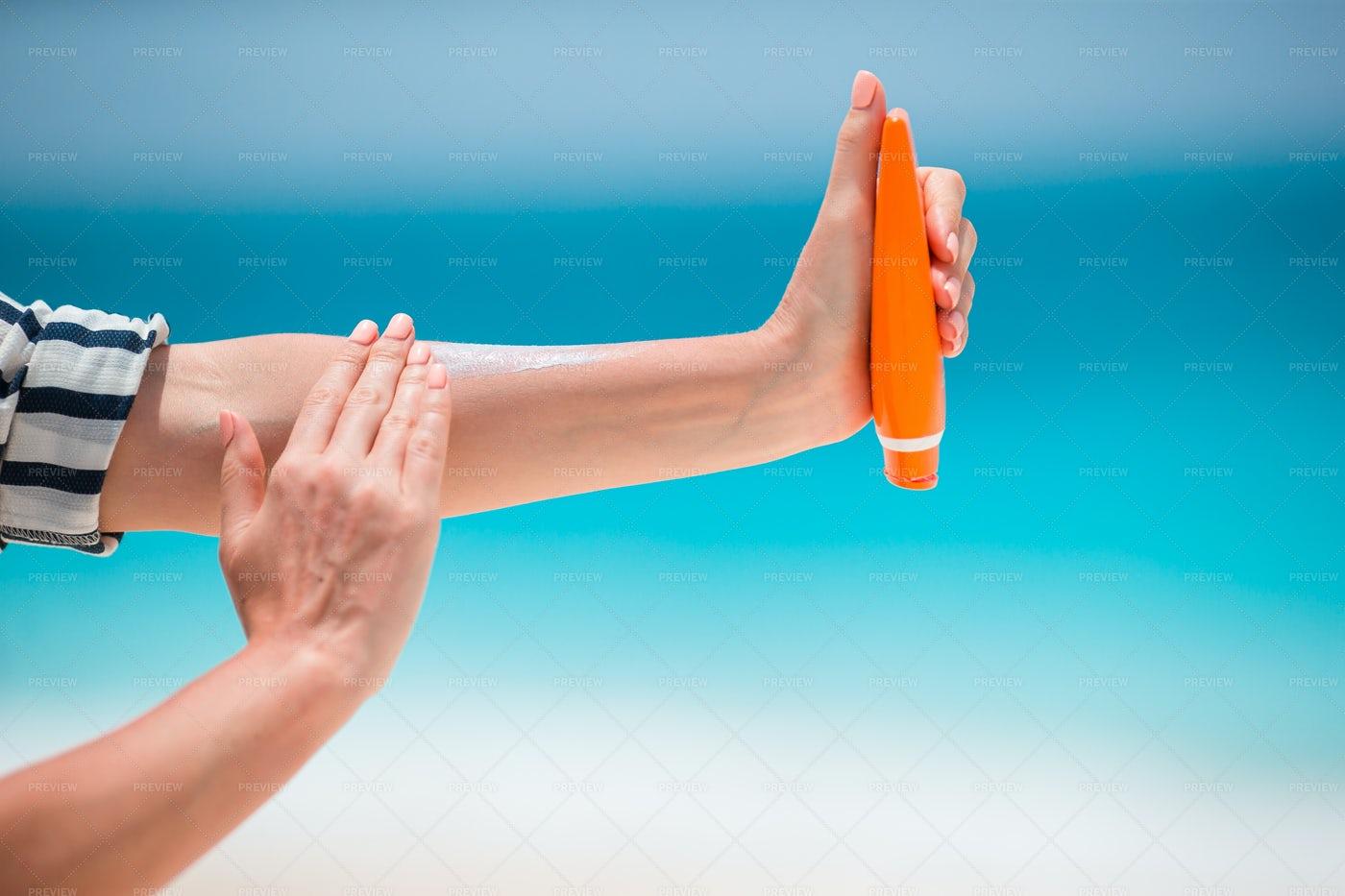 Orange Suncream Bottle: Stock Photos