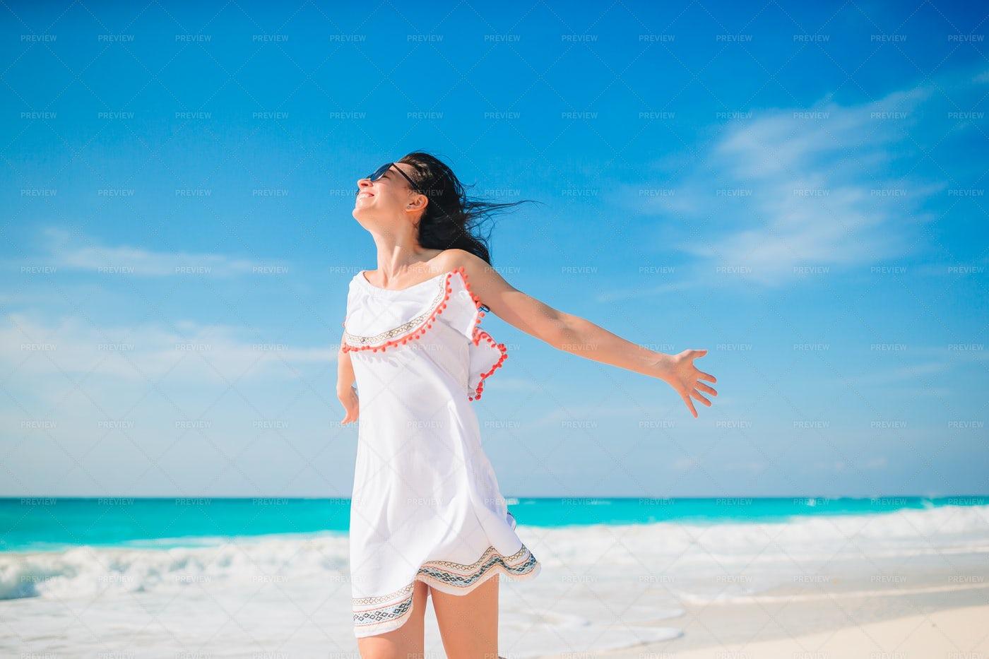 Woman Enjoying The Sun: Stock Photos