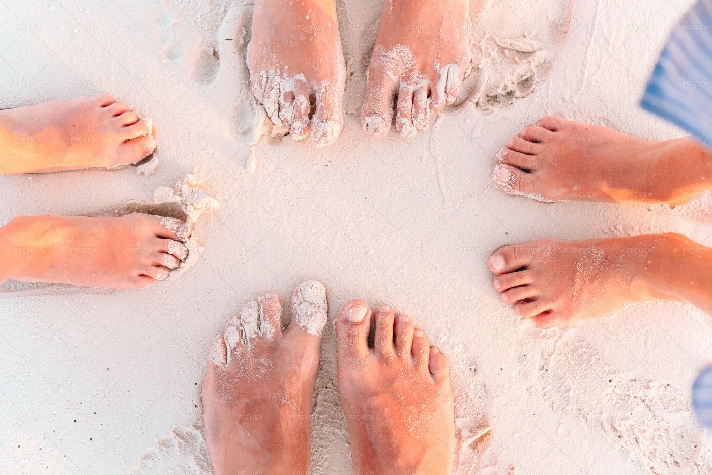 Feet Of A Family: Stock Photos