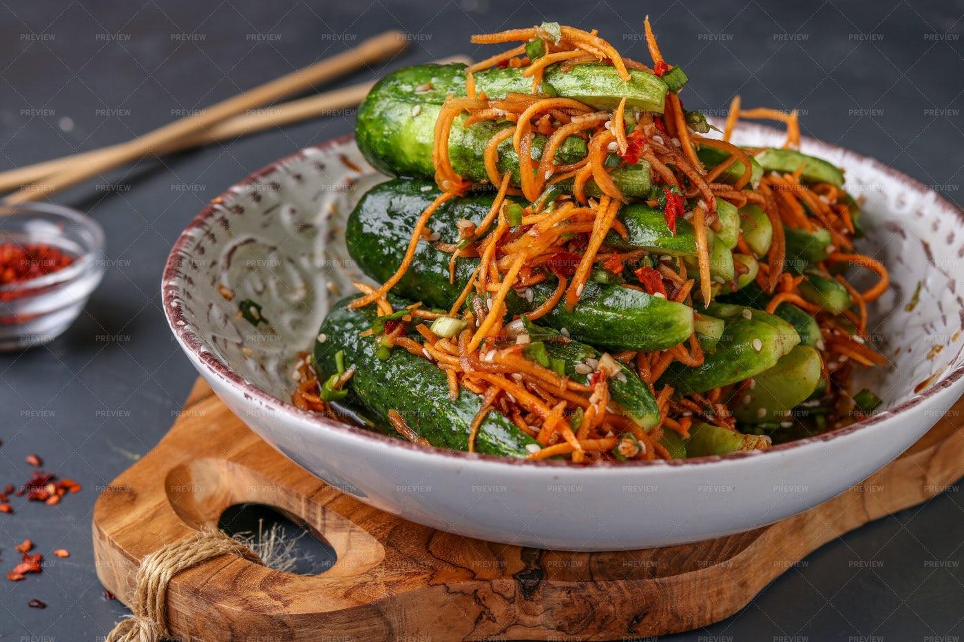 Korean Cucumber Kimchi: Stock Photos
