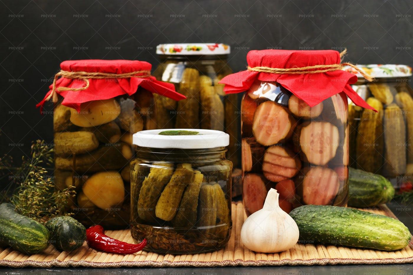 Jars Of Cucumbers: Stock Photos