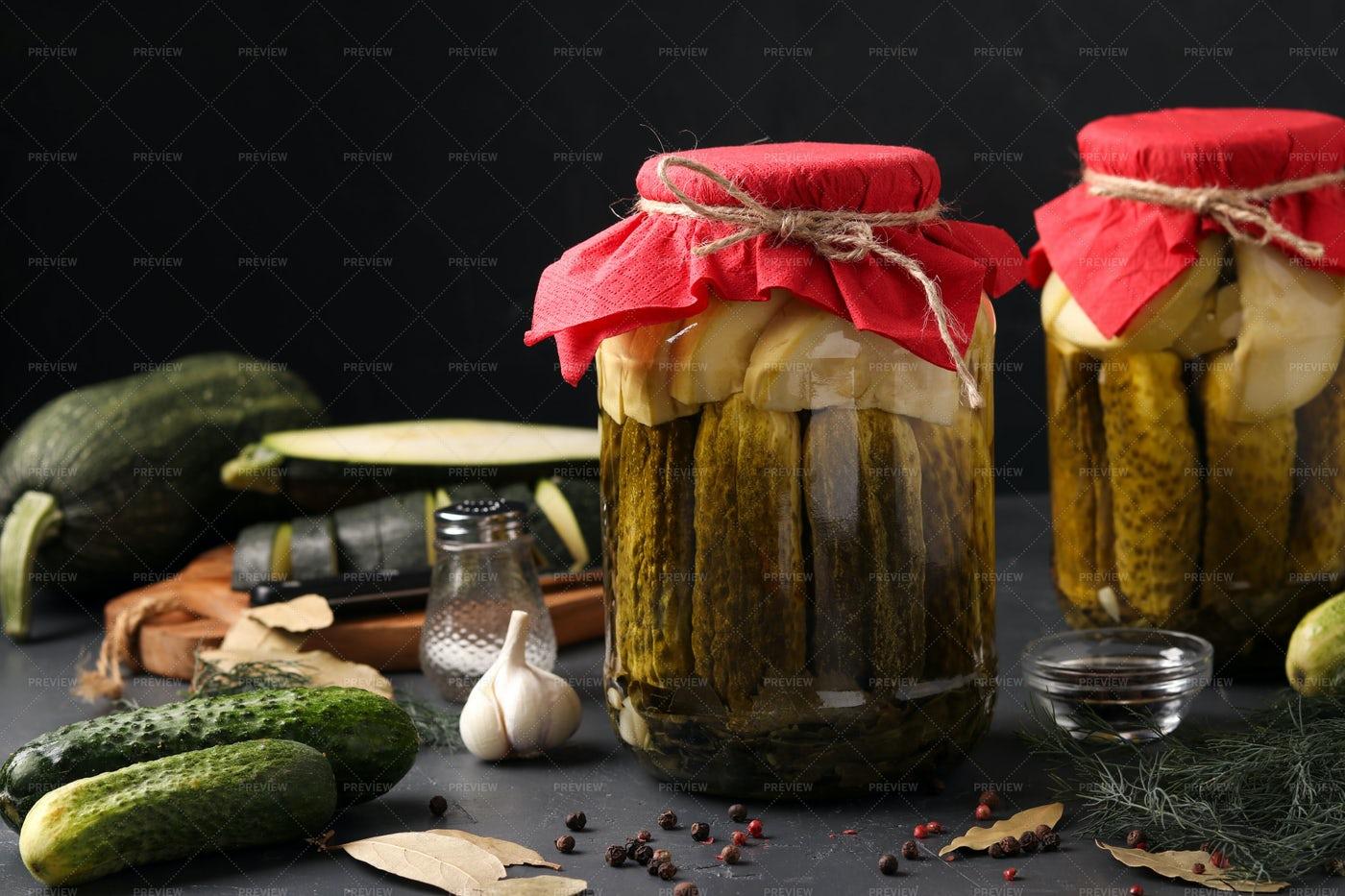 Marinated Cucumbers And Zucchini: Stock Photos
