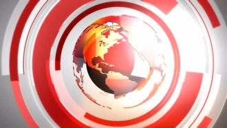 Red Globe On Revolving Rings: Motion Graphics