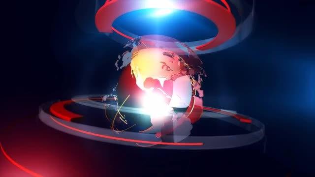 Globe On Red Ring Platform: Stock Motion Graphics