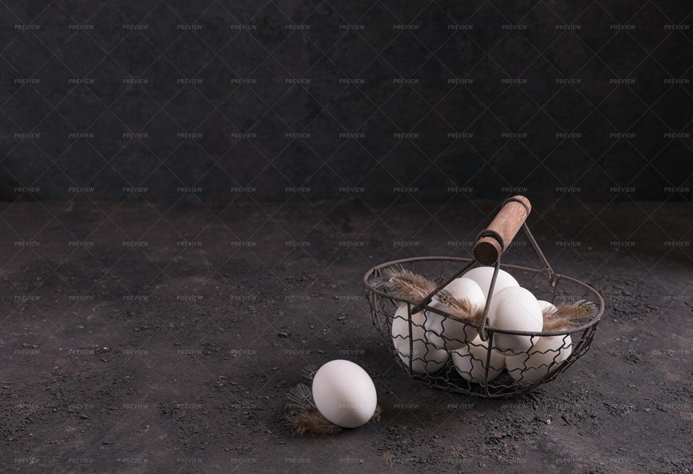 Chicken Eggs In A Basket: Stock Photos