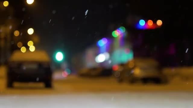 Snowy Street At Night : Stock Video