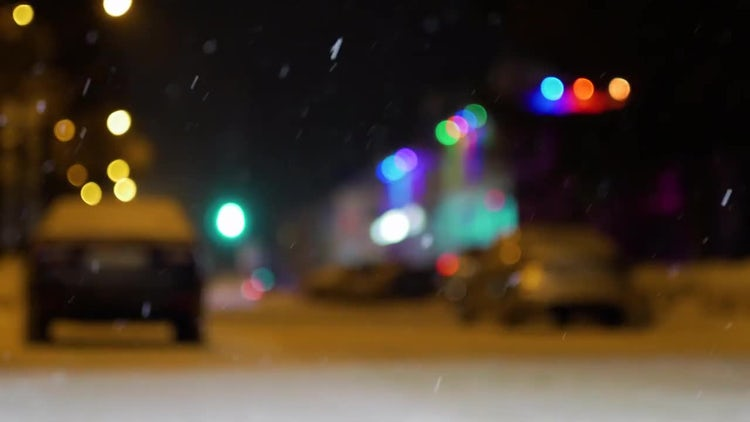 Snowy Street At Night : Stock Video