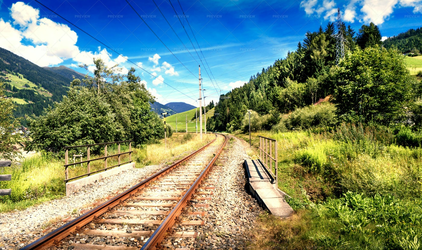 Railway In Mountain Landscape: Stock Photos