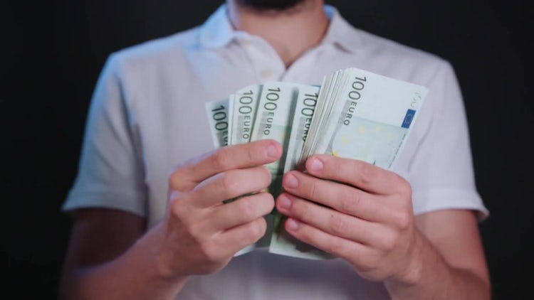 Man In Shirt Counting Money: Stock Video