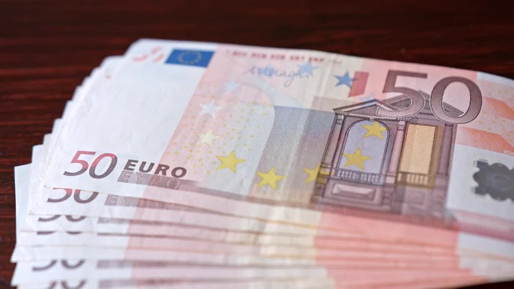 Fifty Euro Banknotes On Table: Stock Video