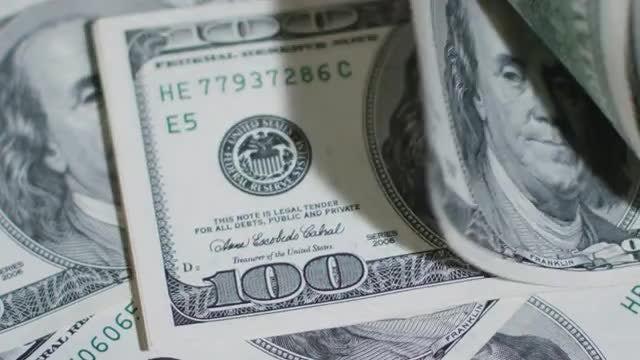 Flipping 100 US Dollars Pile : Stock Video