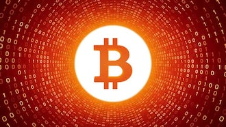Bitcoin In Orange Binary Tunnel: Motion Graphics