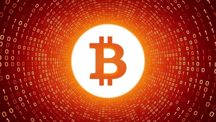 Bitcoin In Orange Binary Tunnel: Motion Graphics