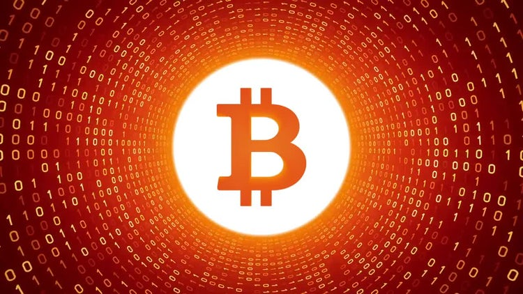 Bitcoin In Orange Binary Tunnel: Stock Motion Graphics