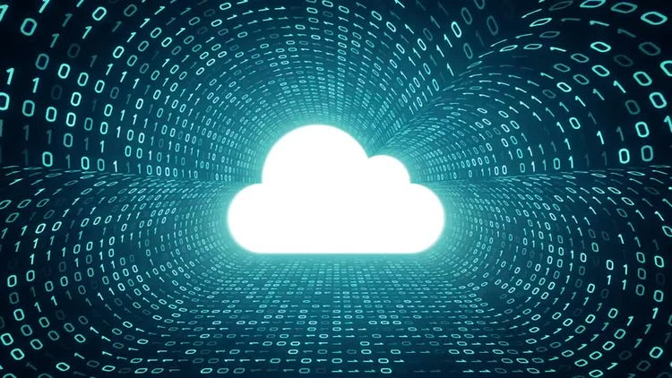 Cloud Icon In Binary : Stock Motion Graphics