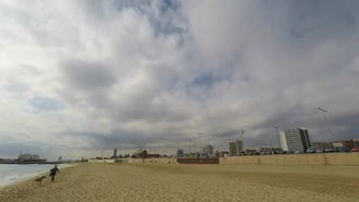 Dense White Clouds By Beach: Stock Video