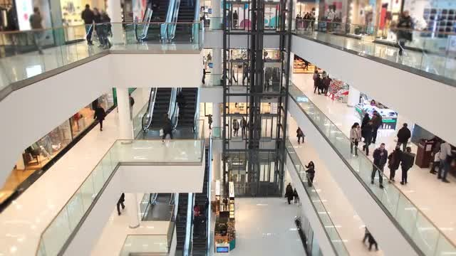 People Walk In Shopping Mall: Stock Video
