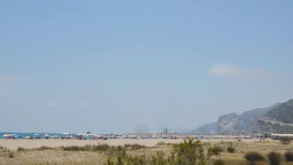 Large Beach From The Distance: Stock Footage