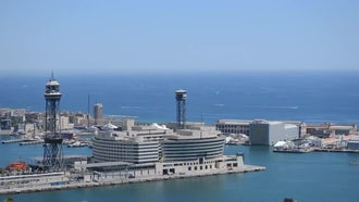 City Sea Shore Horizon: Stock Footage