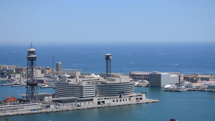 City Sea Shore Horizon: Stock Video