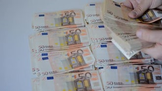 Euro Banknotes Stacking And Counting: Stock Video