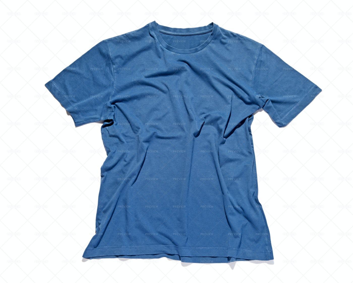 Blue Cotton T-shirt: Stock Photos