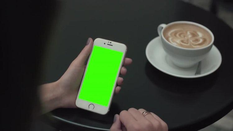 Woman Clicks Green Screen Phone: Stock Video