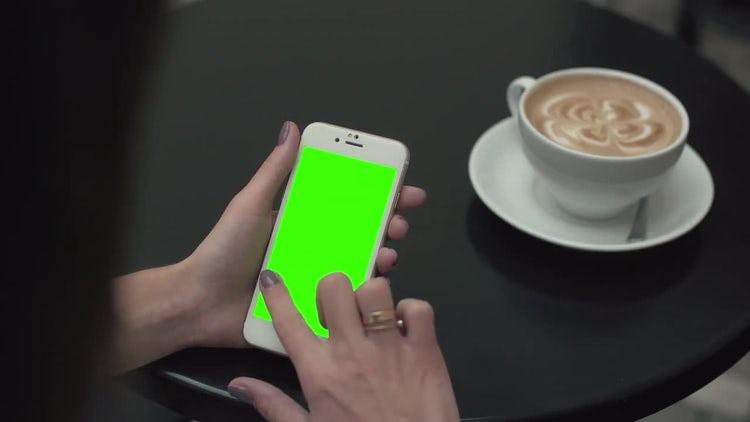 Woman On Green Screen Phone: Stock Video