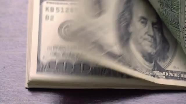 Bundle Of American USD Money On Table: Stock Video