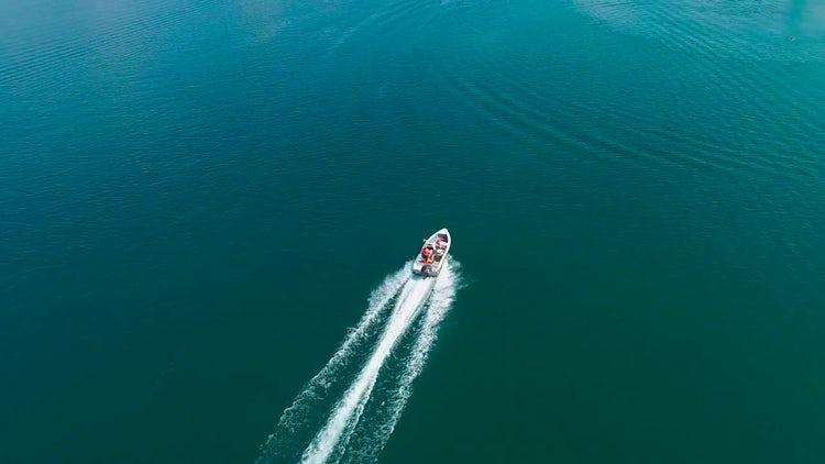 Motor Boat Trail Aerial Shot: Stock Video