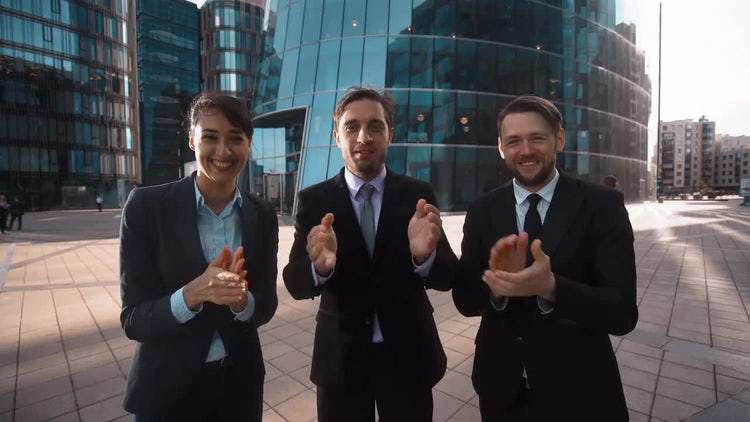 Business People Applaud Achievement: Stock Video