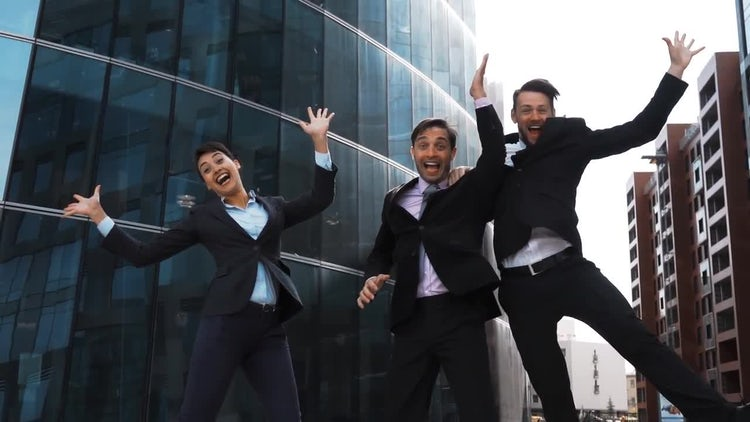 Work Team Jumps For Joy : Stock Video